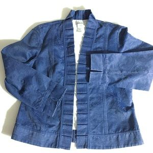 NWOT Chico's Blue Jacket Ruffle Front Accents M